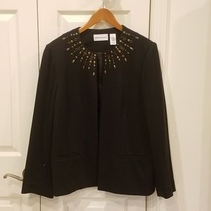 Alfred Dunner Black Jacket with Neckline Detail